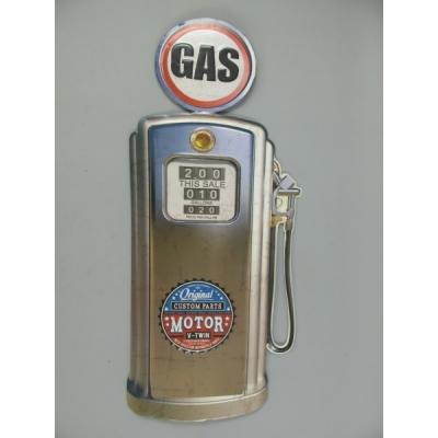 Benzinepomp wanddeco zilver