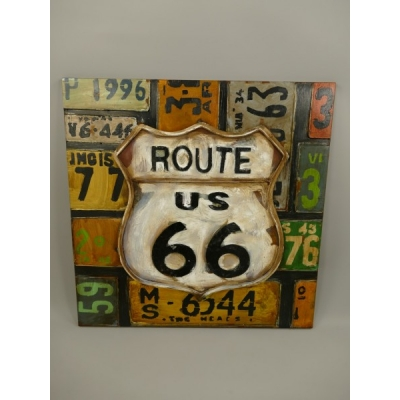 3D wanddeco metaal Route66