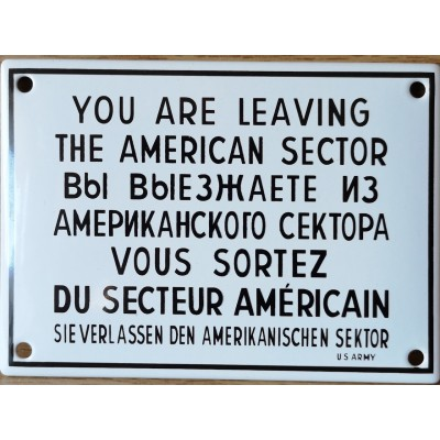 """American sector"" bord emaille"
